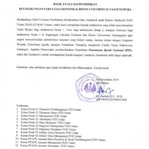 Hasil Evaluasi di Lingkungan Fakultas Ekonomi dan Bisnis Universitas Tanjungpura