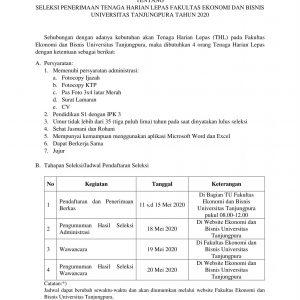 Penerimaan Tenaga Harian Lepas Fakultas Ekonomi dan Bisnis Universitas Tanjungpura