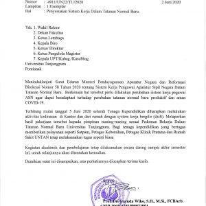 Surat Rektor Tentang Peyesuaian Sistem Kerja Dalam Tatanan Norma Baru