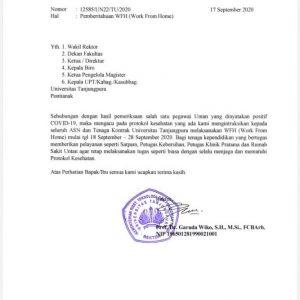 Pengumuman Rektor Tentang WFH Seluruh Fakultas