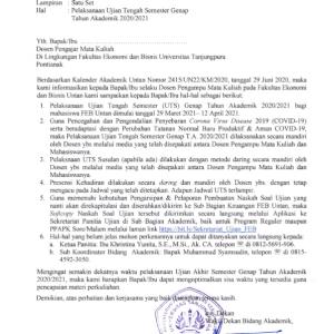 Jadwal Ujian Tengah Semester Genap T.A 2020/2021